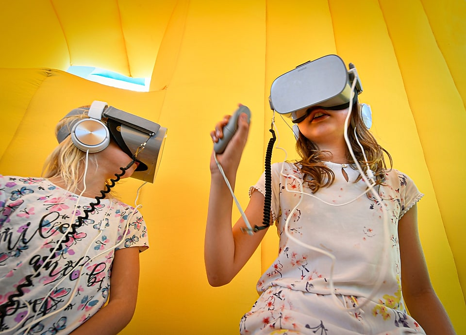 two girls with VR headset