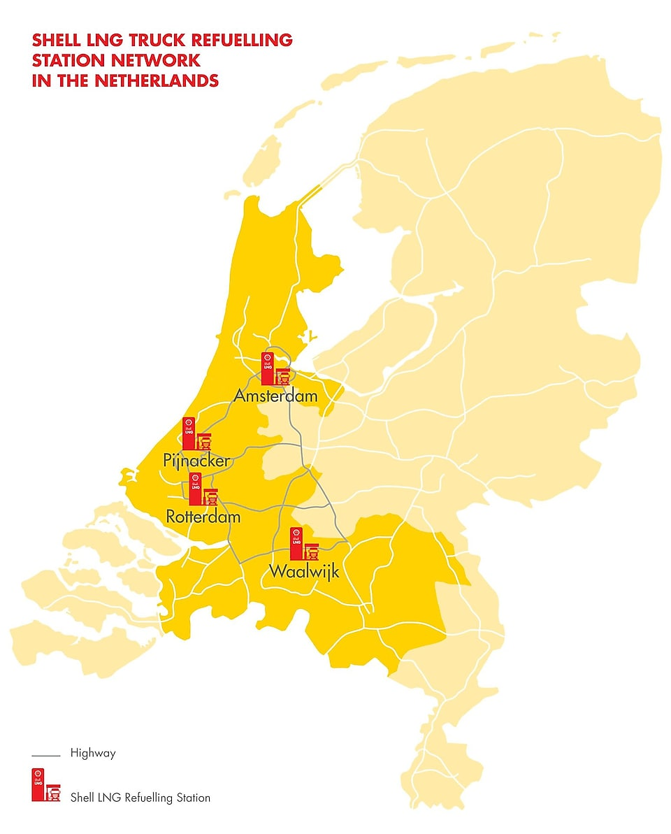 Shell LNG truck refuelling station network in the Netherlands