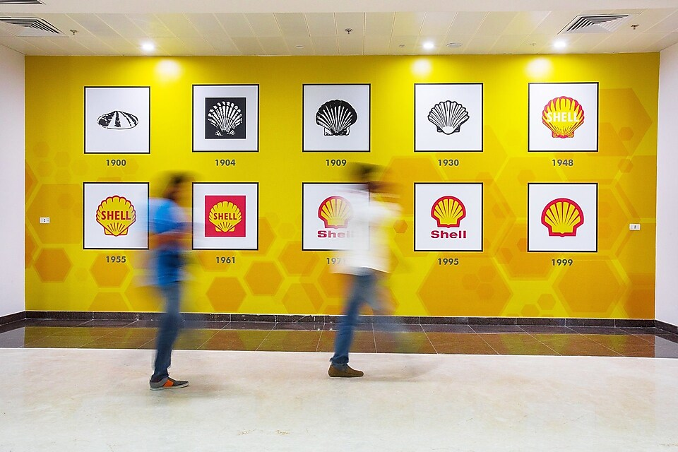 Branded wall at the Shell Technology Centre Bangalore office building. March 2017 HSSE Approved and Model Released